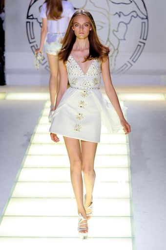 Versace Spring 2012 White V-Neck Mini Cocktail Dress With Gold Embellishment  - Lyst