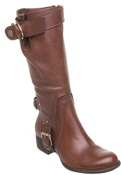 dune jerome buckle knee high boots brown in brown