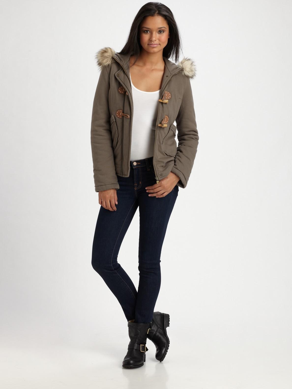 Lyst Twisted Heart Nepal Faux Fur Trim Fleece Jacket In
