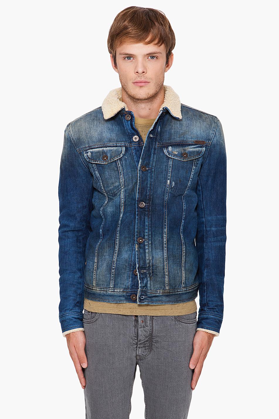 Diesel Faux Fur Lined Denim Jacket In Blue For Men Denim