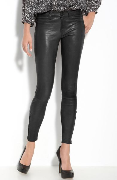 J Brand Lambskin Leather Pants in Black