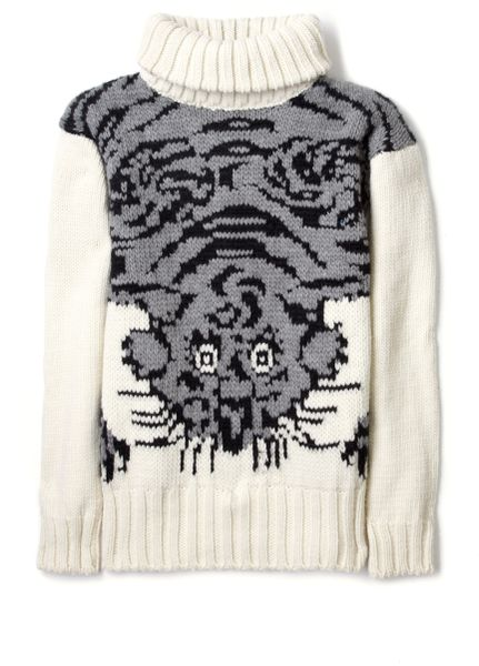 Joseph Tiger Roll Neck Sweater in Animal (tiger)