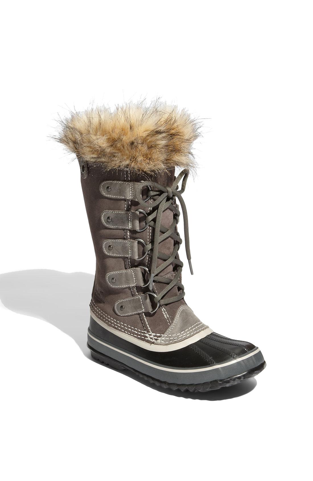 sorel joan of arctic faux fur suede boots in brown grey