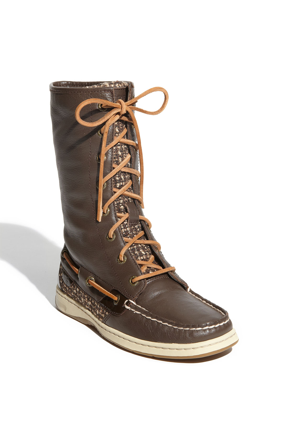 sperry top sider ladyfish boot in brown lyst