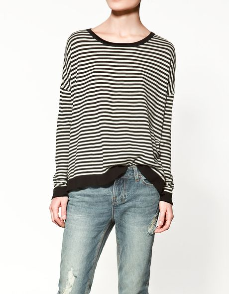 Zara Striped Sweater in Black
