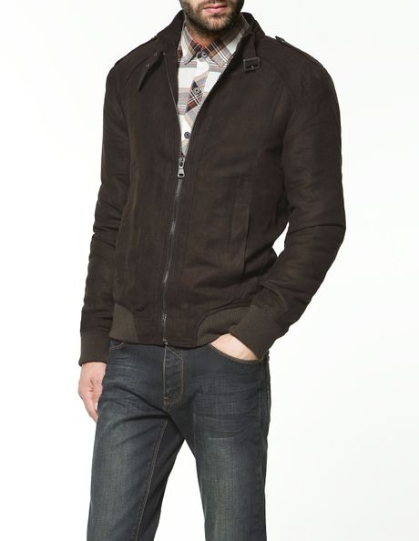 Faux suede jacket with elbow patches