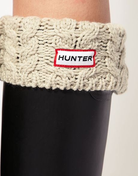 Hunter Chunky Cable Cuff Welly Socks in White (ivory) Lyst