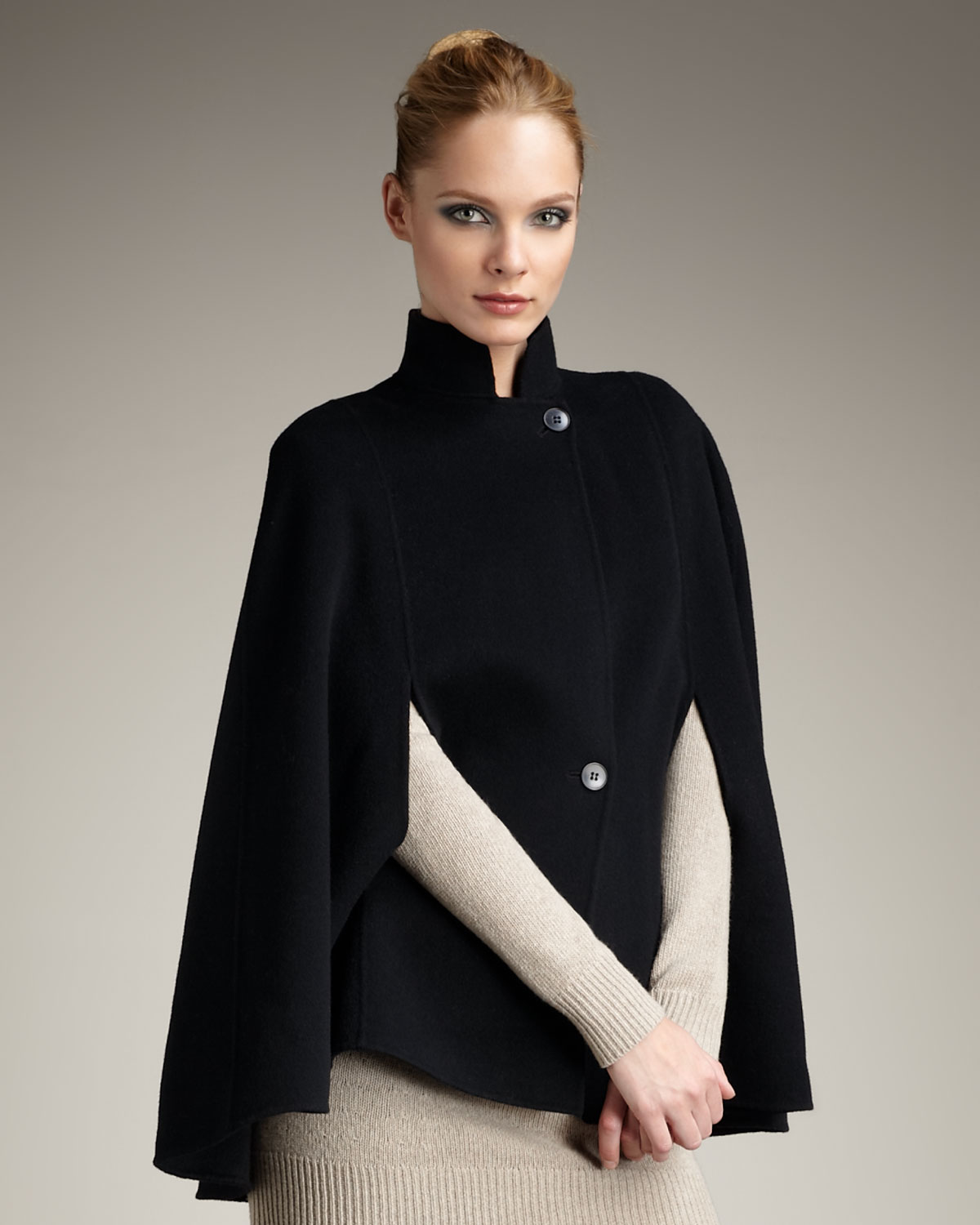 Theory Wool Cape in Black
