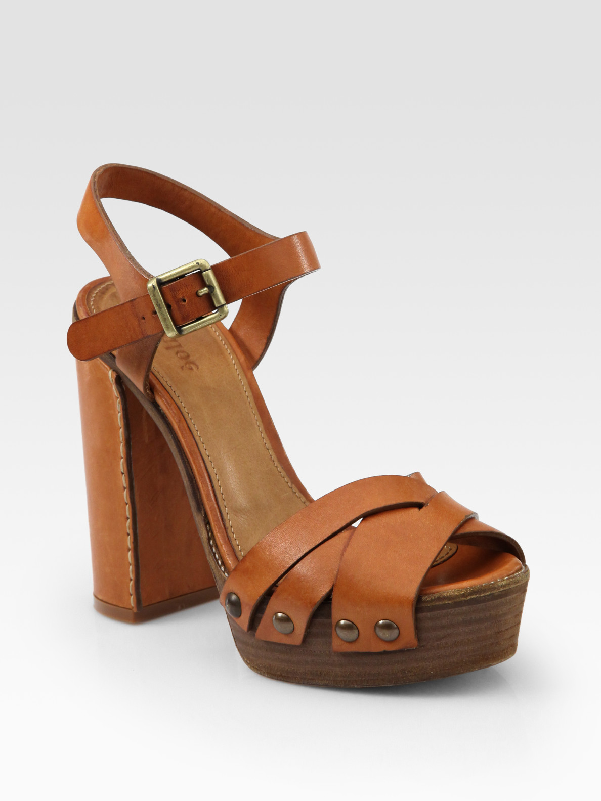 chlo 233 leather wooden sole platform sandals in brown lyst