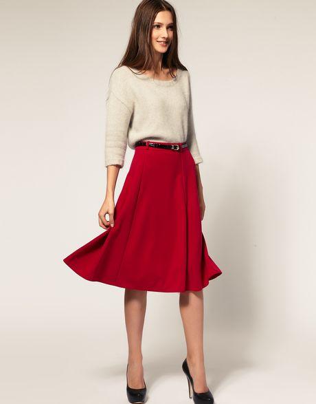Asos Midi Tailored Ponti Fit Flare Skirt Victoria Beckham