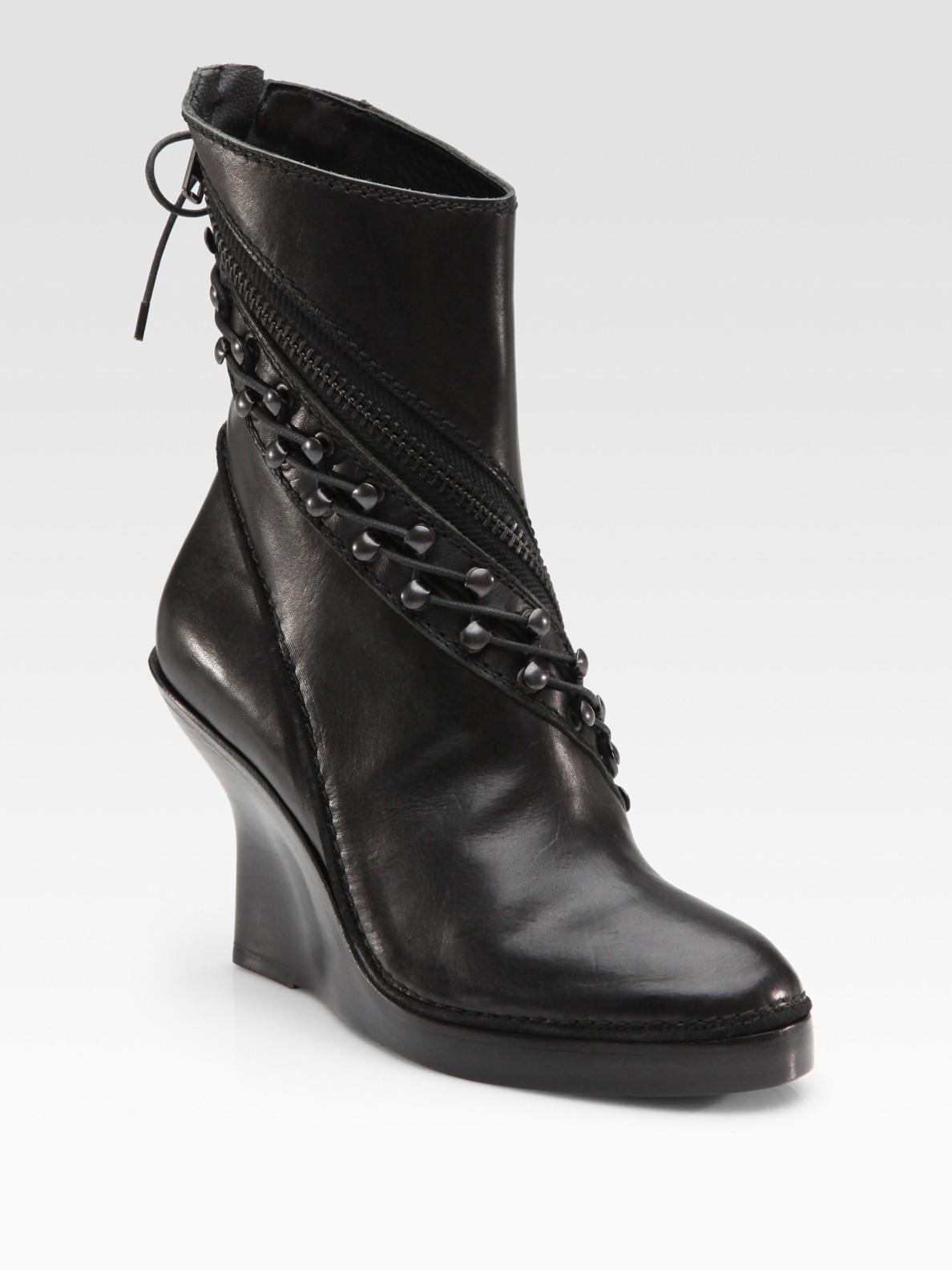 haider ackermann leather hook and lace wedge ankle boots