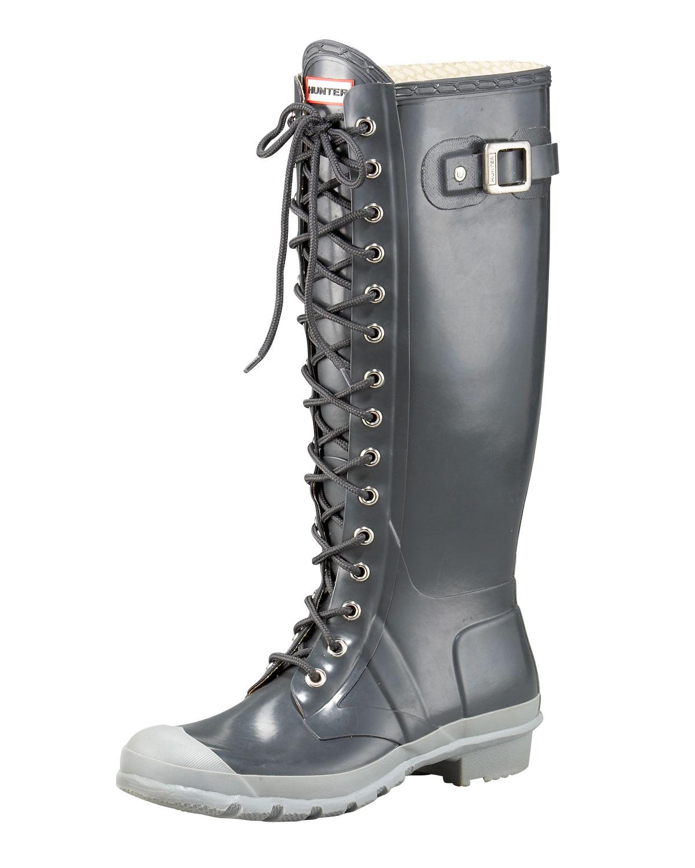 Hunter Gloss Lace Up Rain Boot In Silver Gunmetal Lyst