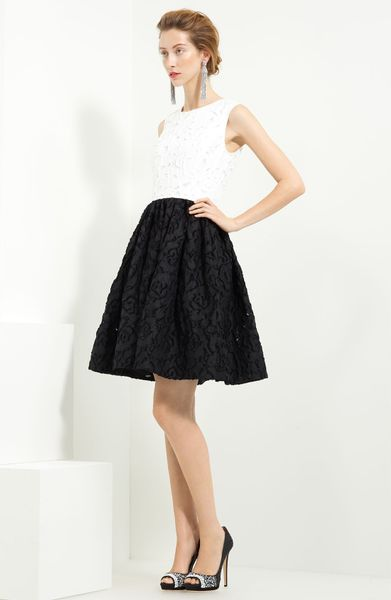 Oscar De La Renta Patchwork Dress in Black (white)