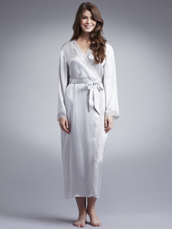 John Lewis Women Long Silk Dressing Gown Light Grey In Gray Lyst
