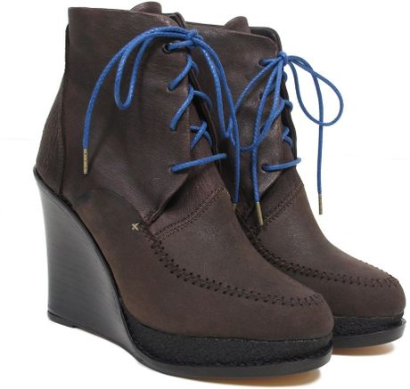 Rag & Bone Dolgan Wedge Booties in Brown (bone)