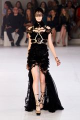 Alexander McQueen Spring 2012 Chiffon And Lace Maxi Dress With Ruffles And Metallic Detailing