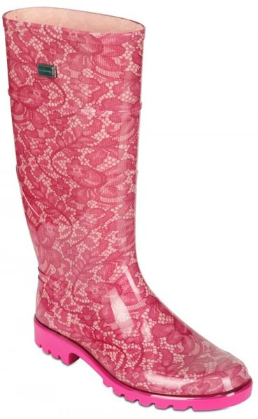 Dolce Amp Gabbana Rubber Lace Boots In Pink Lyst