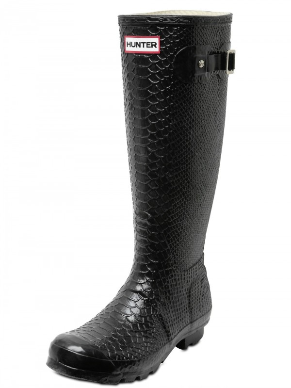Lyst Hunter Snake Print Boots In Black