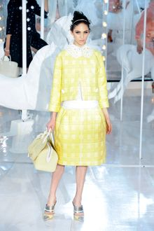 Louis Vuitton Spring 2012 Yellow Cropped Checked Lapel-less Jacket - Lyst