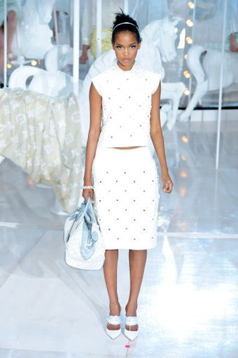 Louis Vuitton Spring 2012 White High Heel Mules - Lyst