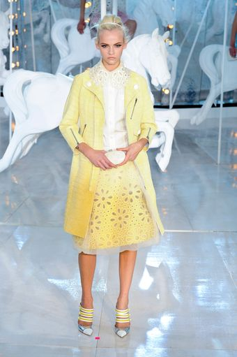 Louis Vuitton Spring 2012 Yellow Skirt with Broderie Anglaise and Organza Trim - Lyst