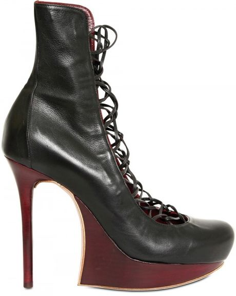 Nina Ricci 120mm Calfskin Lace Up Boots in Purple (black)