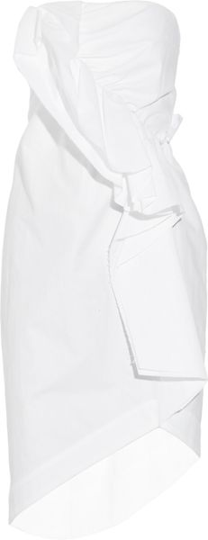 Thakoon Asymmetrical Cotton-blend Brushed Twill Dress in White