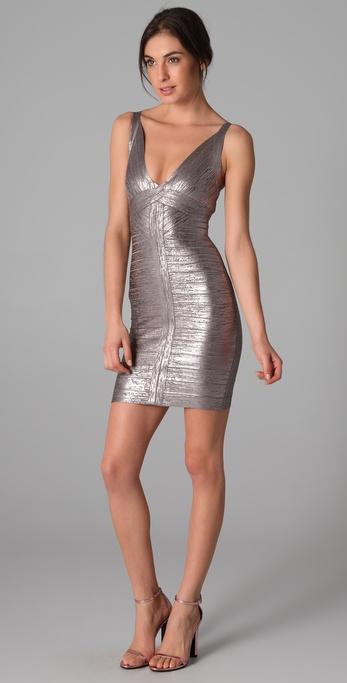 Lyst Herv 233 L 233 Ger Metallic Foil V Neck Dress In Metallic