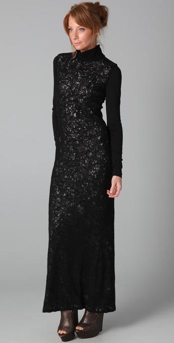 Lyst L A M B Long Turtleneck Sweater Dress In Black
