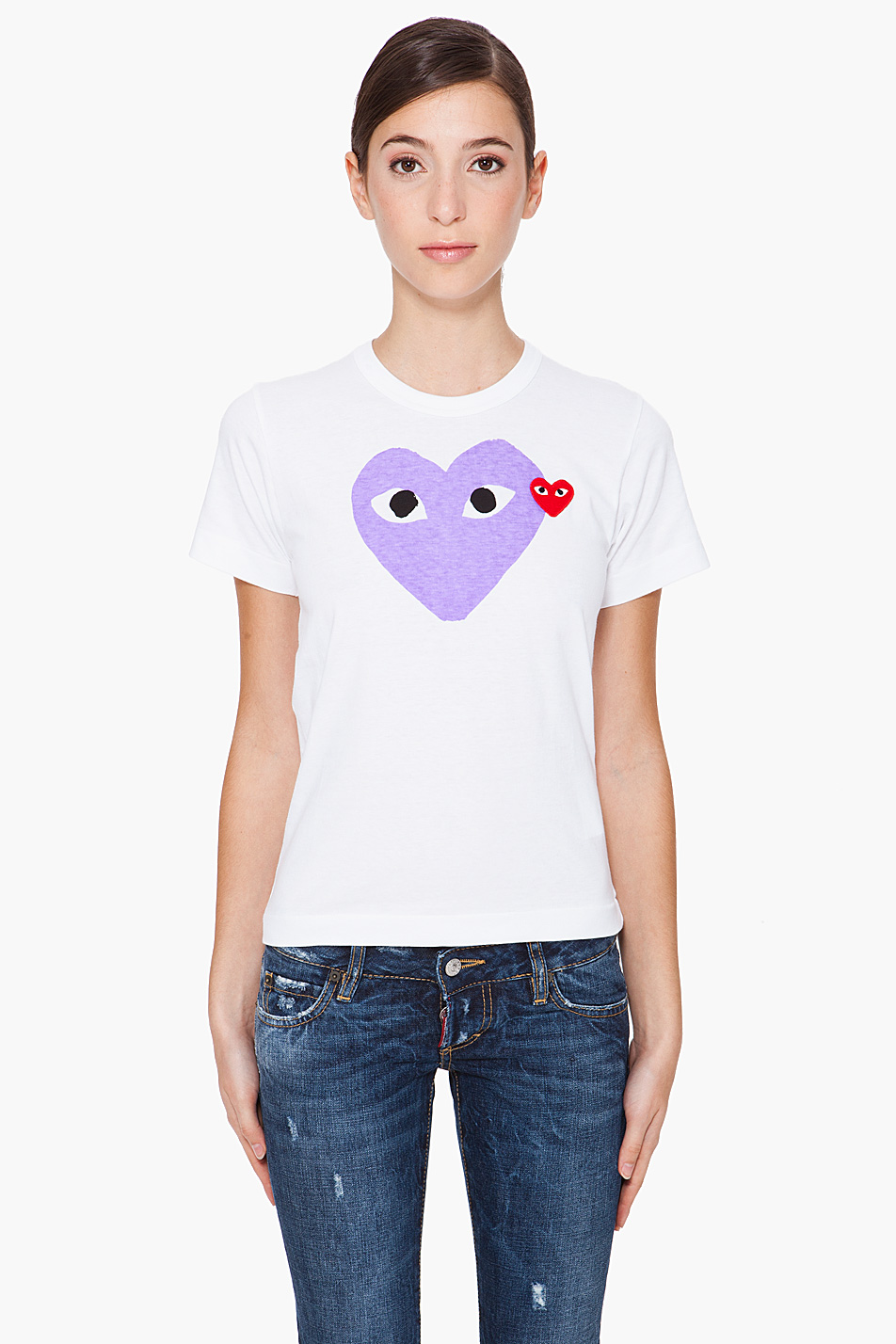 play comme des gar ons purple heart t shirt in purple lyst. Black Bedroom Furniture Sets. Home Design Ideas