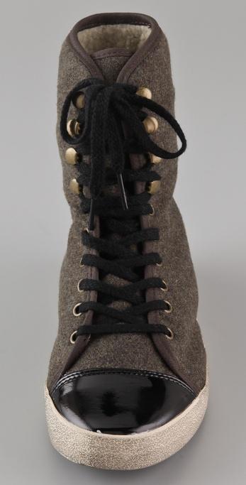 671a6bfb2bd99 Lyst - Sam Edelman Cori Sherpa High Top Sneakers in Green