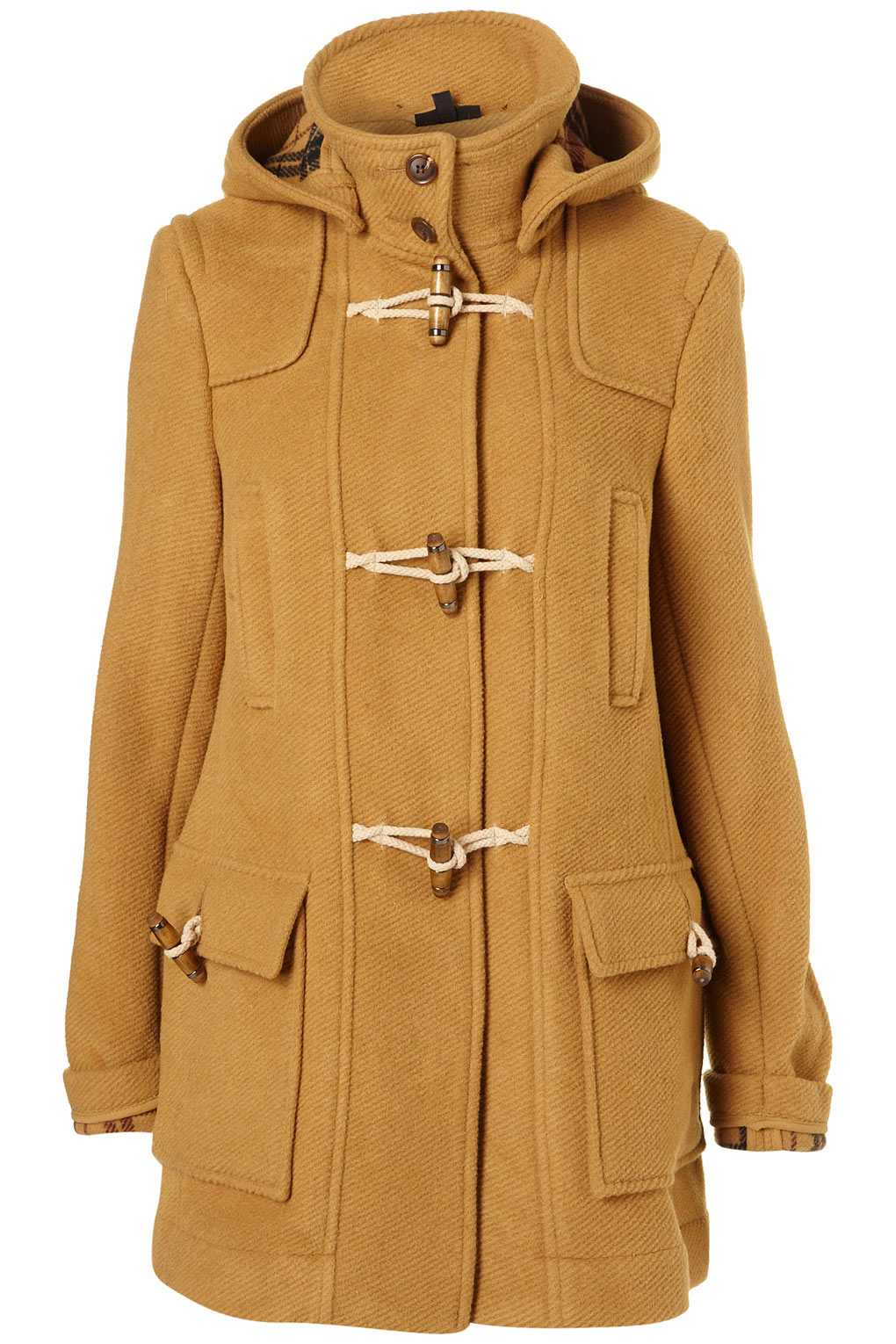 Topshop Bound Seam Duffle Coat in Yellow | Lyst