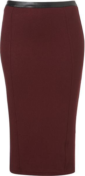 topshop ponte faux leather trim pencil skirt in purple