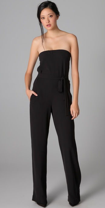Vince Strapless Jumpsuit in Black | Lyst