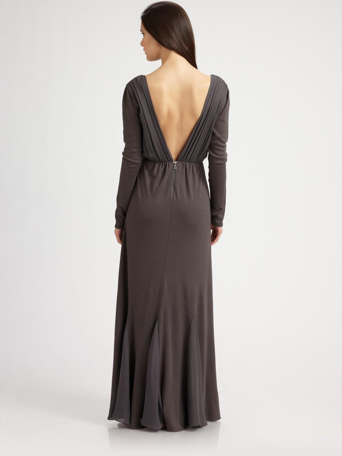 Alice Olivia Theron Long Sleeve Maxi Dress In Gray Lyst