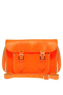 Cambridge Satchel Company Exclusive To Asos 11 Orange Fluorescent Cracked Leather Satchel - Lyst