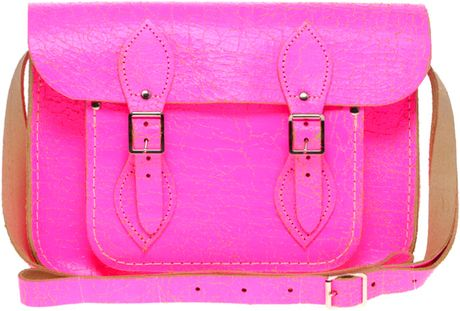 Cambridge Satchel Company Exclusive To Asos 11 Pink Fluro Cracked Leather Satchel in Pink - Lyst