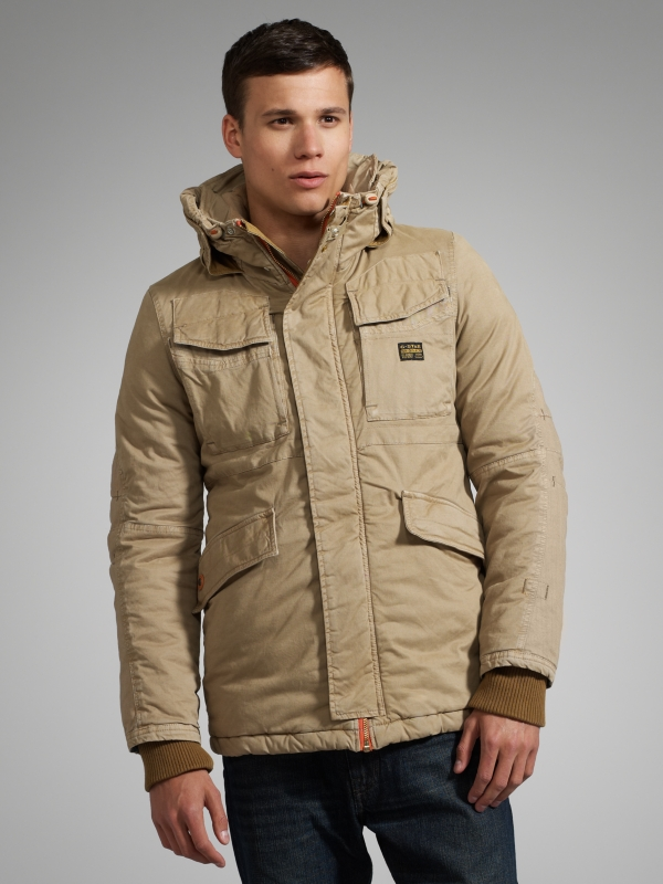 G Star Raw Mfd Field Hooded Parka Lion In Natural For Men