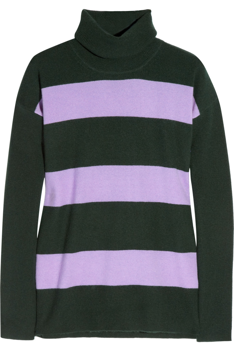 J.crew Striped Cashmere Turtleneck Sweater in Black | Lyst