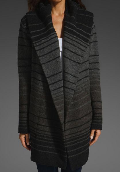 Vince Sophie Variegated Stripe Sweater Coat In Gray