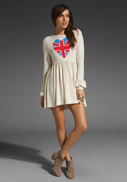 Wildfox British Babe London Baby Doll Dress in White