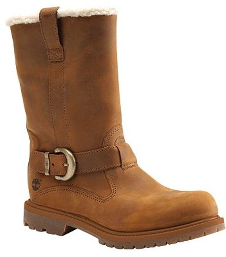 timberland nellie slip on leather calf boot brown in brown