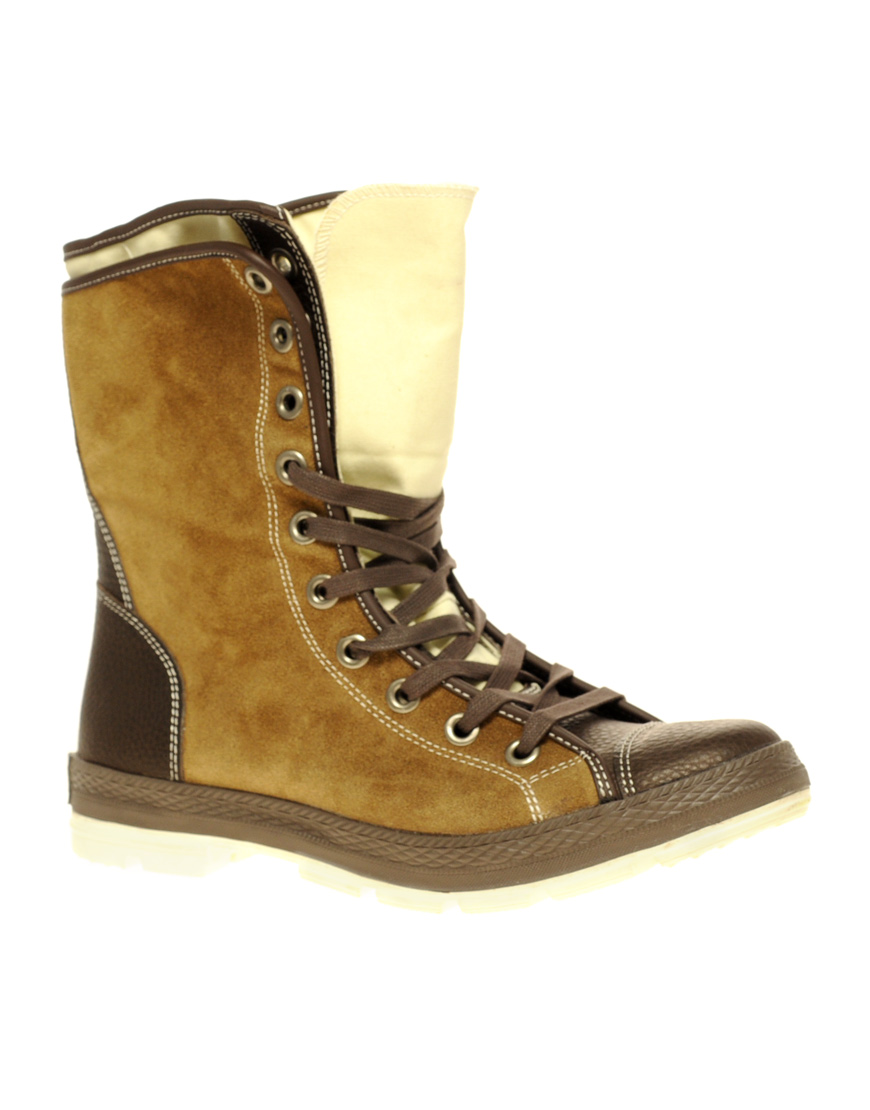 converse leather boots in brown for lyst