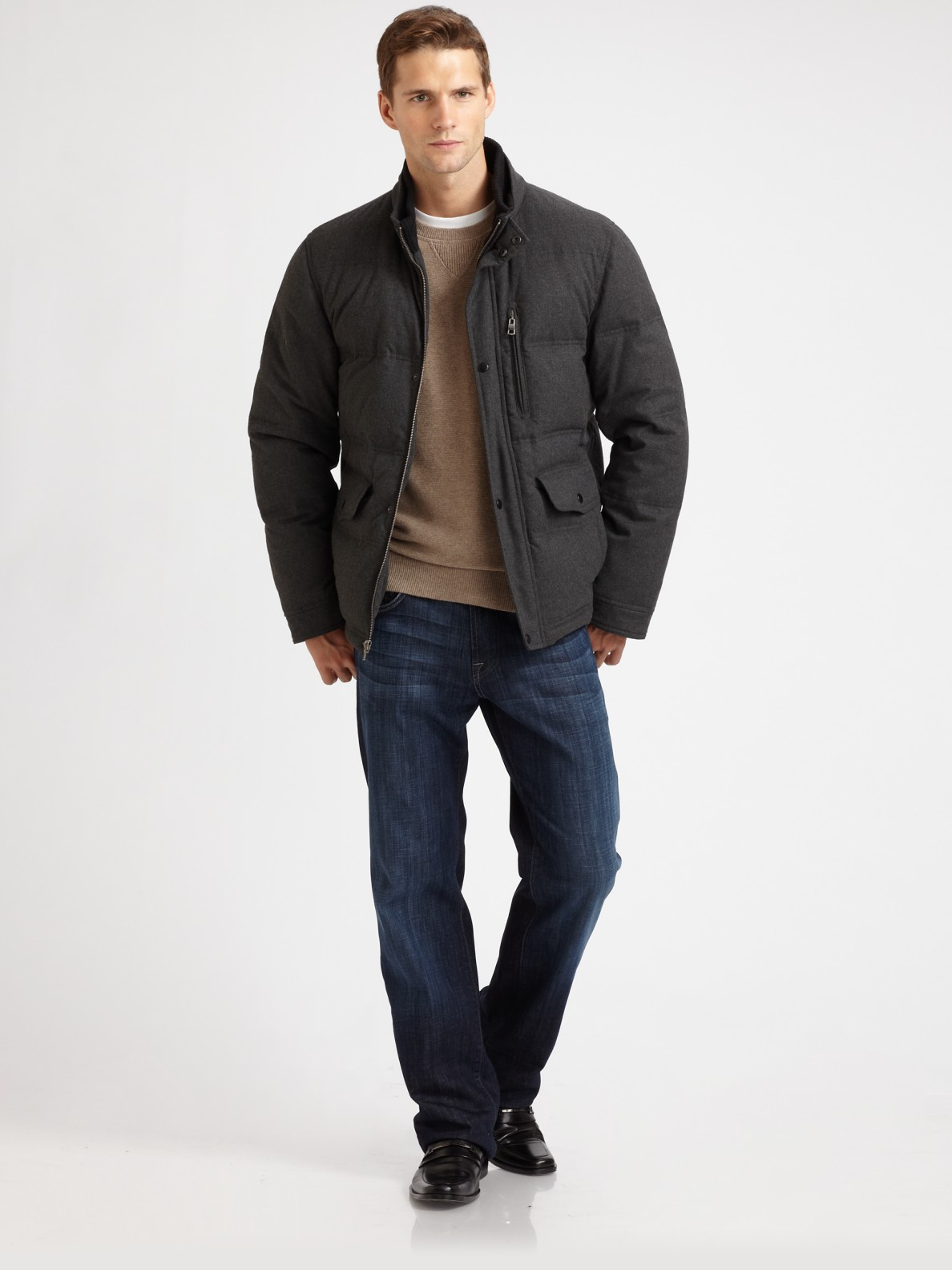 Cole Haan Flannel Down Jacket In Gray For Men Charcoal