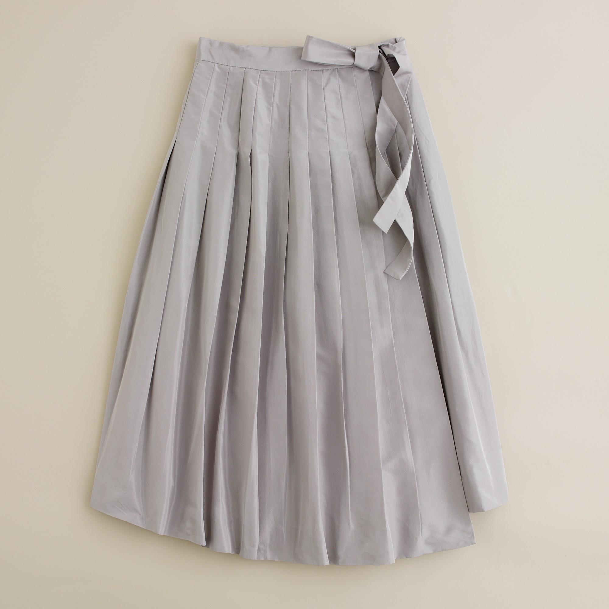 Lyst J Crew Knife Pleat Wrap Skirt In Silk Taffeta In Gray