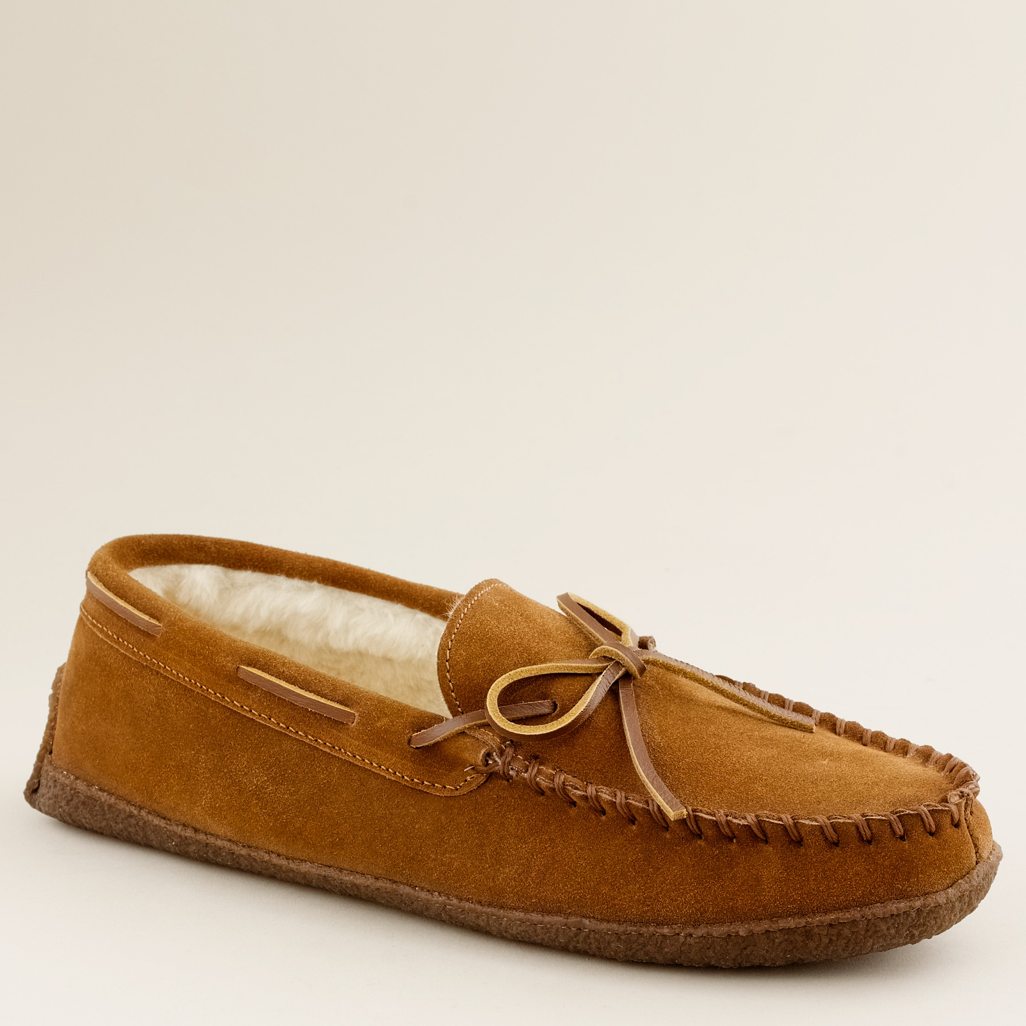 Fleece lined lodge moccasins in brown for men lyst for J crew bedroom slippers