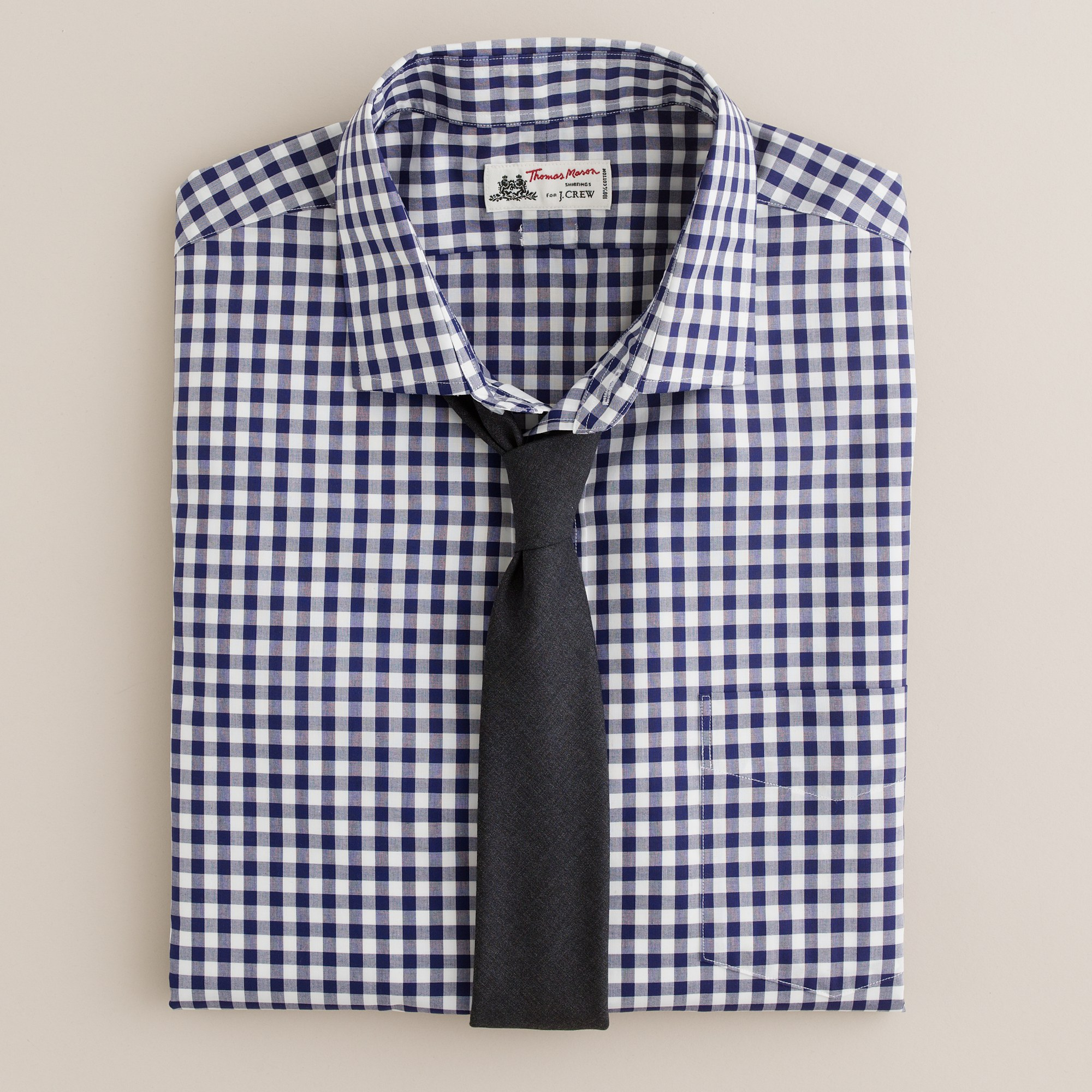 Thomas Mason Fabric Spread Collar Dress Shirt In