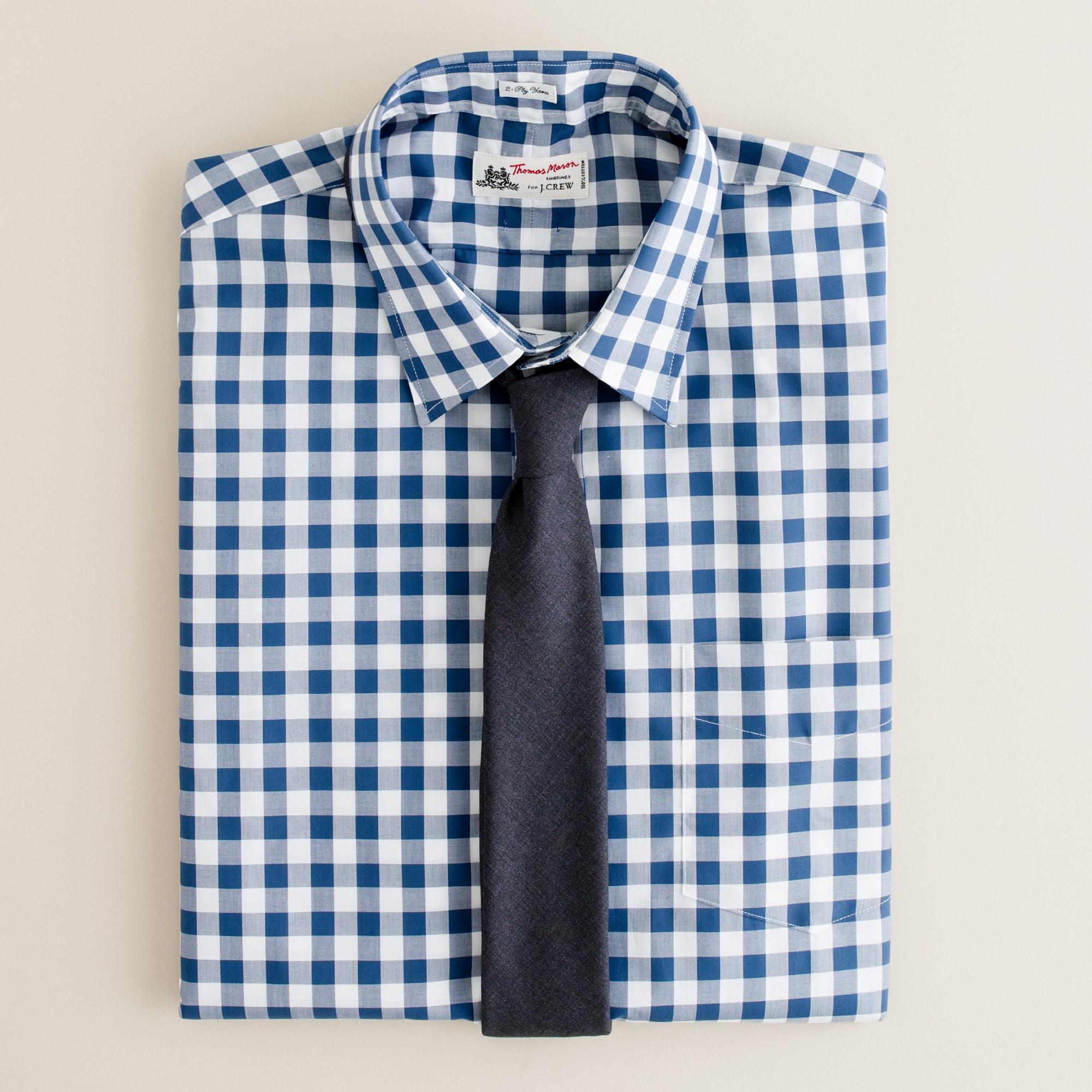 Secret wash shirt in blue gingham in blue for men for Men s red gingham dress shirt