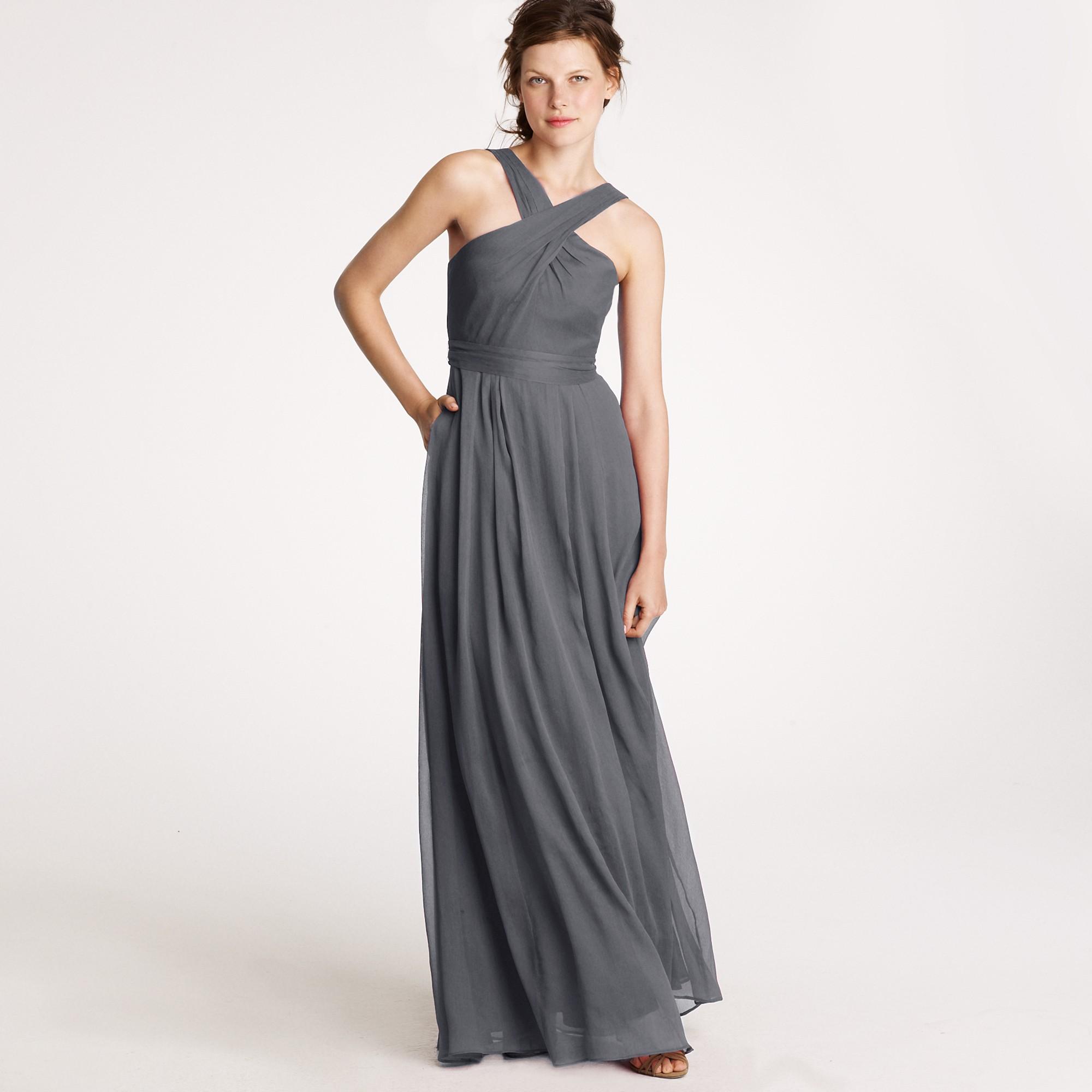 J.Crew Claudia Halter Dress In Silk Chiffon