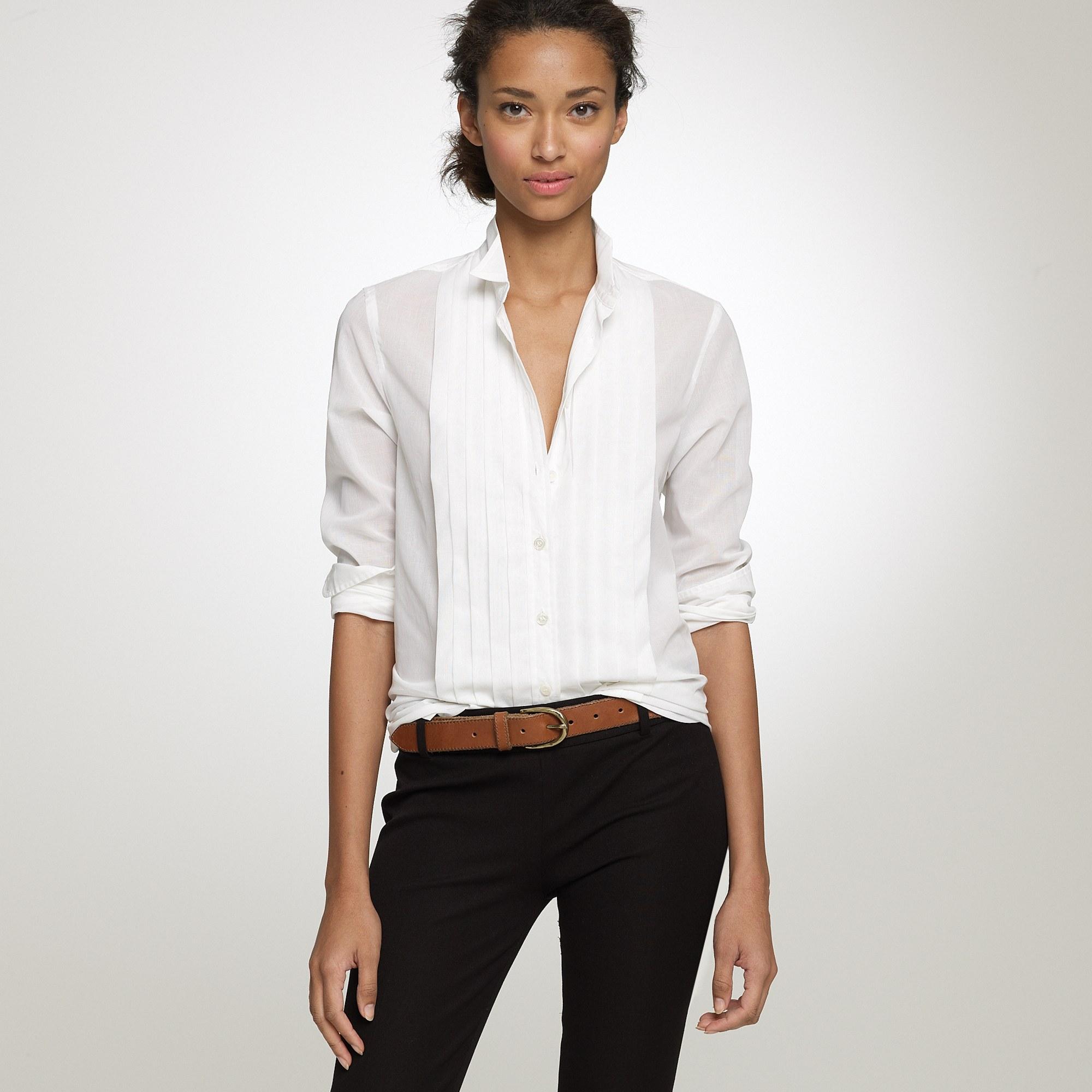 Lyst - J.Crew Tuxedo Shirt in Thomas Mason® Fabric in White cd5f9f16f